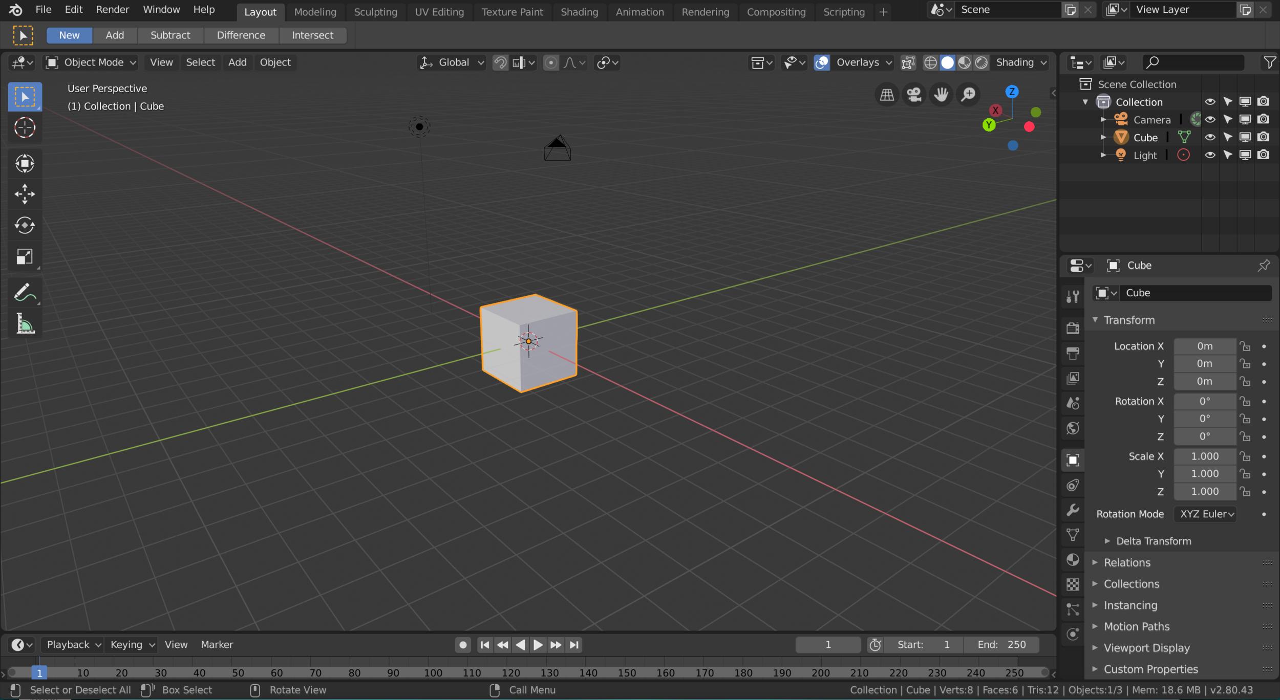 Screenshot of Blender 2.80