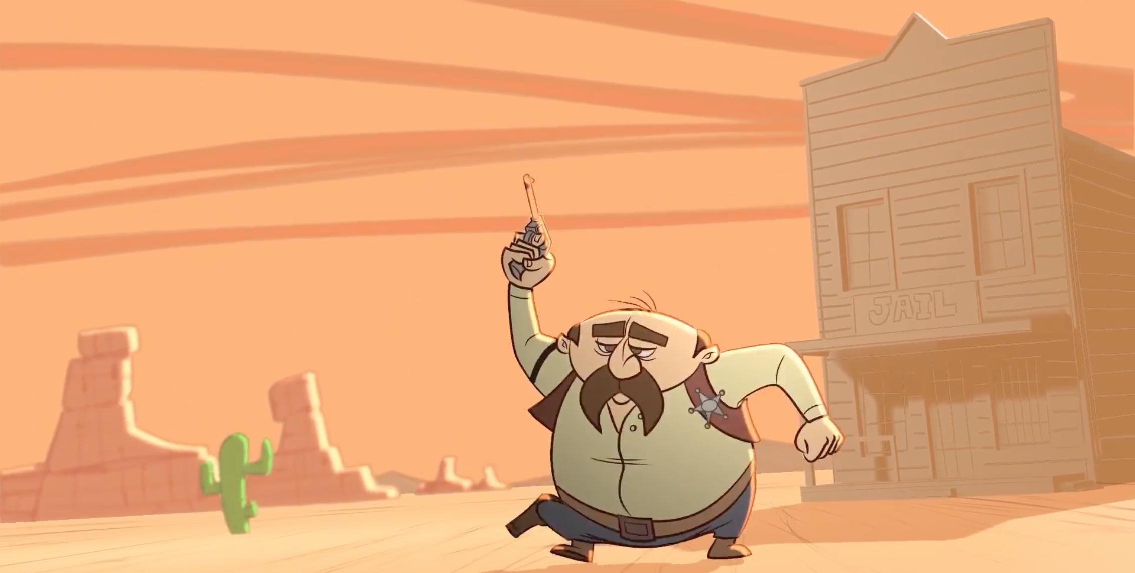 A screenshot of Mendiola's western 2D animation.
