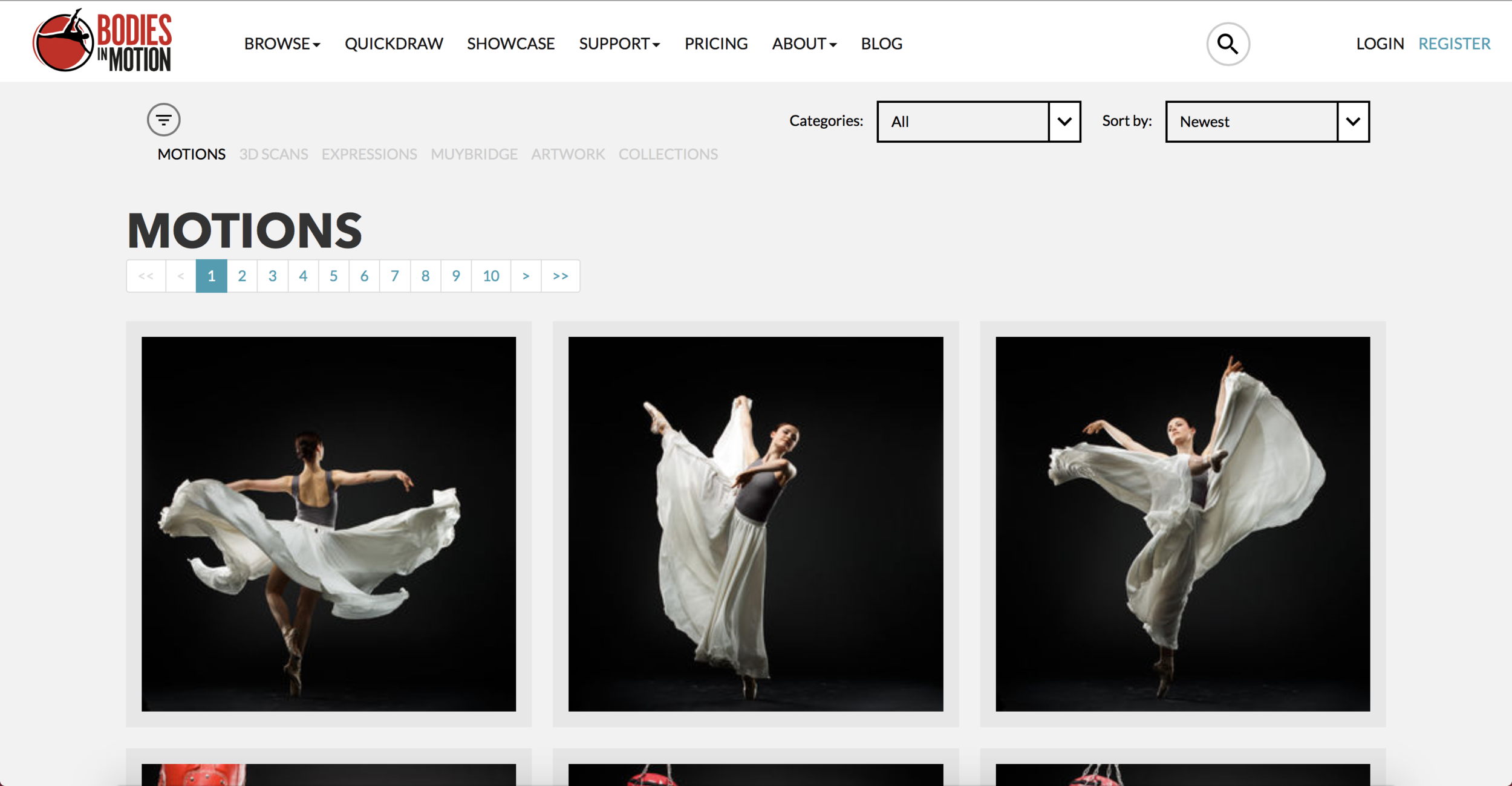 Screenshot of the Bodies in Motion website.