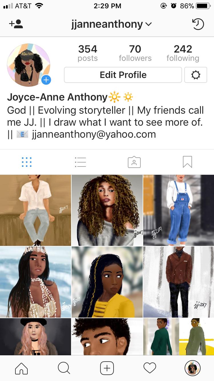 Screenshot of my Instagram account Dec. 2017.