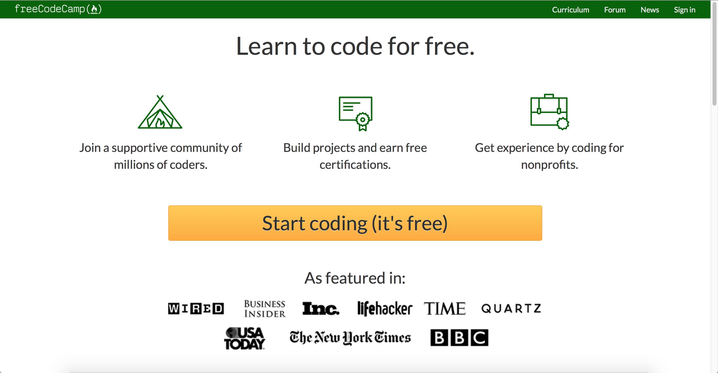 Screenshot of the FreeCodeCamp.org Homepage