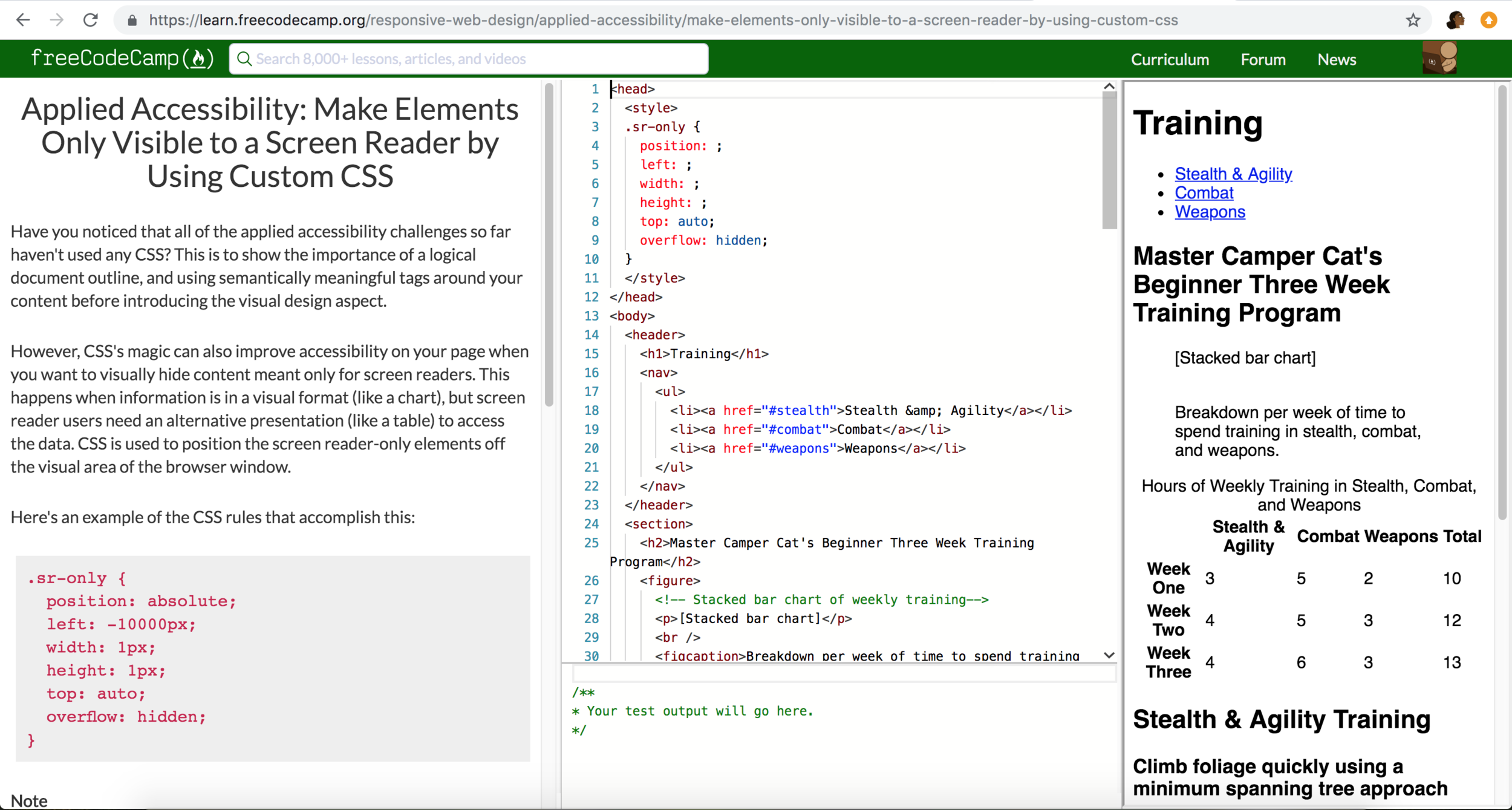 Screenshot of the current lesson I am working on provided by FreeCodeCamp.org