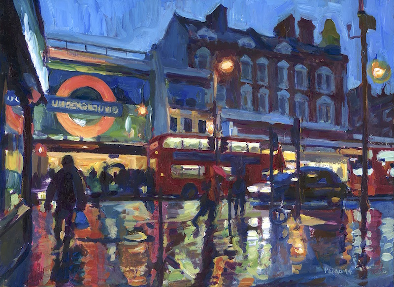 Brixton Station, Dusk and Rain