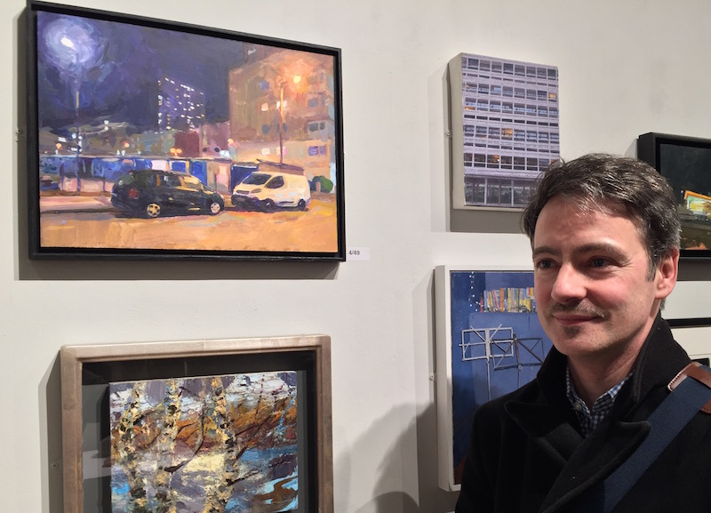 - Standing alongside my painting Central Street EC1V at the ING Discerning Eye exhibition, Mall Galleries, London, November 2017