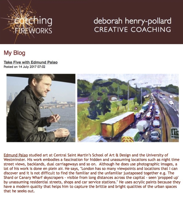 14 July 2017 - Five question interview about my art practice with Deborah Henry-Pollard founder of creative coaching service Catching Fireworks
