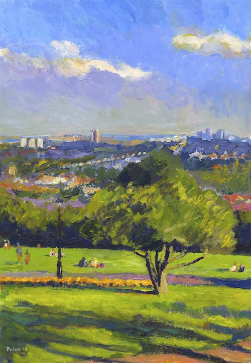 Blue sky painting:  Sometimes I don't need to travel far to get   splendid views of the London skyline, such as this scene overlooking Alexandra Park.