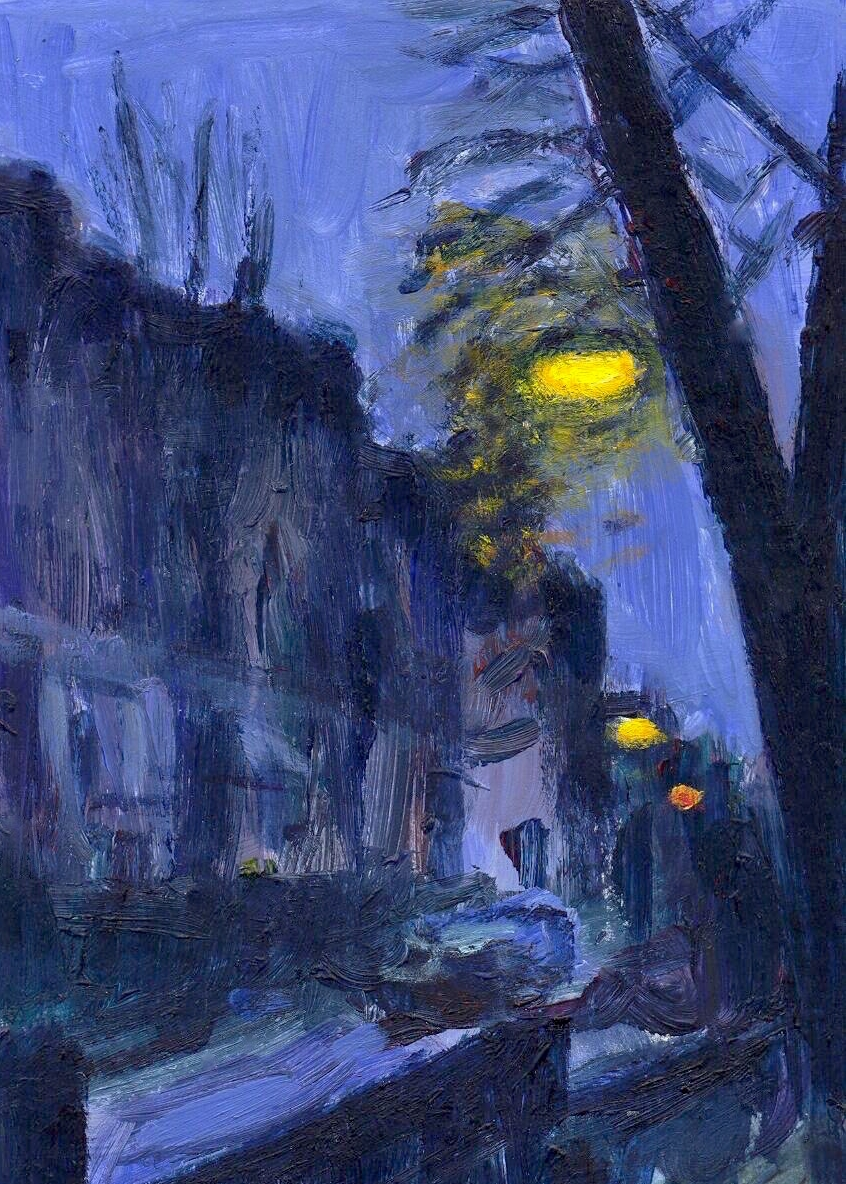 Lighting up time:  Amber street lighting creates an enchanting atmosphere when set against the blue of dusk, as shown in this small painting that I made in Crouch End, N8 in 1996.