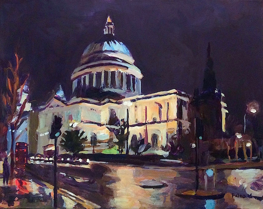 St Paul's Cathedral, Lit at Night  2016 acrylic on linen, 45 x 55 cm (18 x 22 inches)