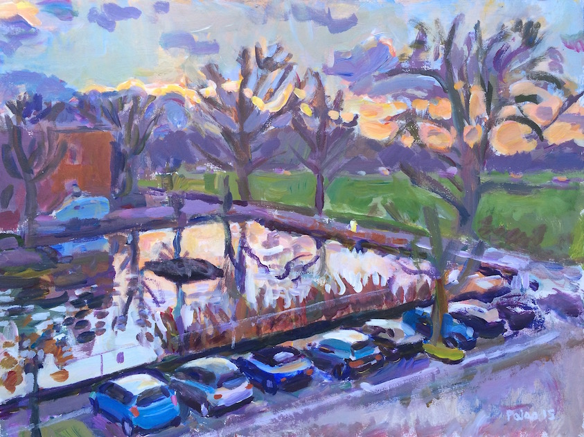 Kew Green - Winter  2015 acrylic on board 30 x 40 cm. This bare-treed view was painted from a slightly higher position than the two previous paintings above, which allowed for a better view of the reflections in the pond.