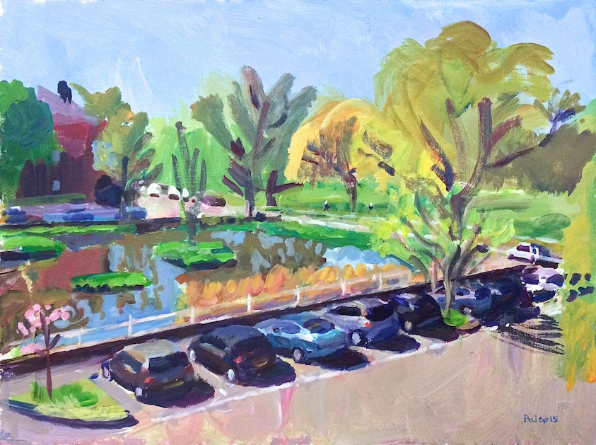 Kew Green - Spring  2015 acrylic on board 30 x 40 cm. The last in the series, this bright painting was completed in one short sitting as I felt confident and familiar enough with the view to keep everything simple and spontaneous.
