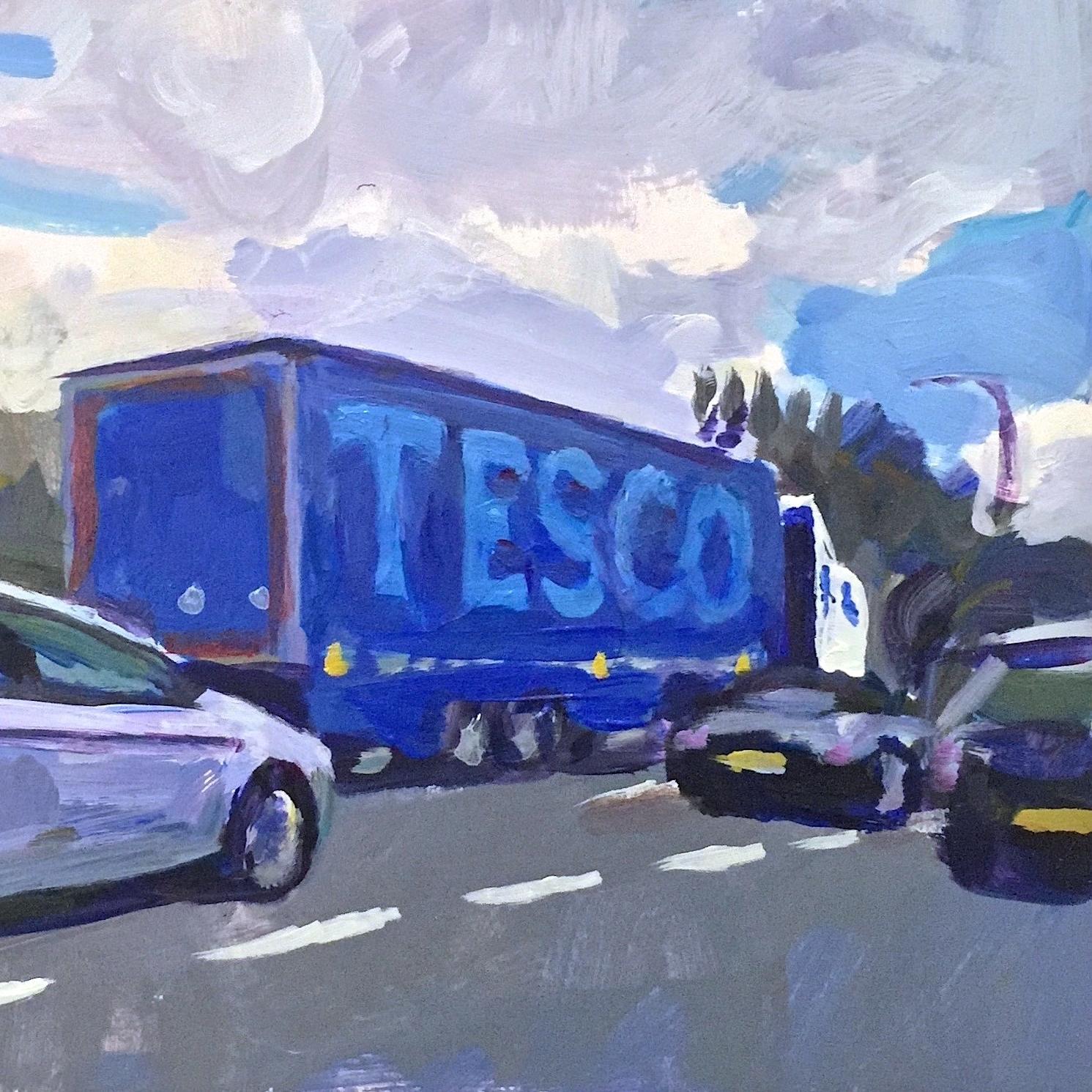 Towards London on A27  (detail)  2016 acrylic on card,18 x 28 cm