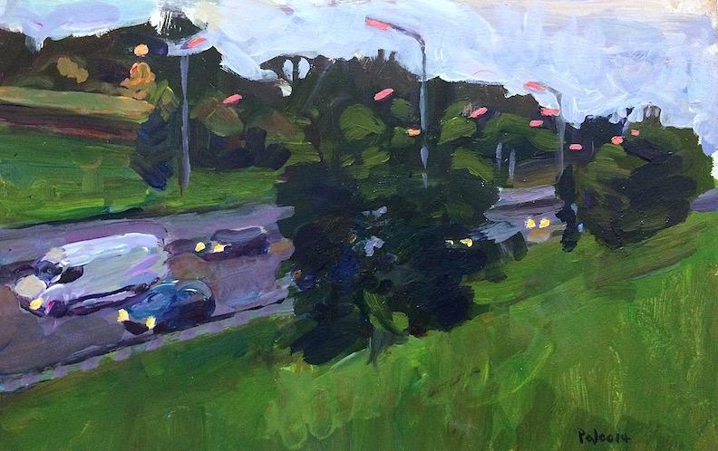 Homeward Bound on North Circular Road  2014 acrylic on board, 18 x 30 cm