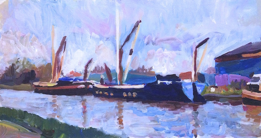 Sailing Barges by Tottenham Lock at Dusk  2013 acrylic on board, 20.5 x 38 cm