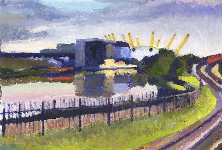 Bow Creek  2011 acrylic on card, 18 x 28 cm