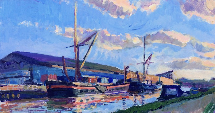 Sailing Barges by Tottenham Lock  2014 acrylic on board, 20.5 x 38 cm