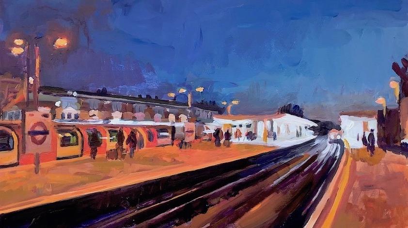 Leytonstone Station at Dusk  2017-18 acrylic on board 25 x 40 cm