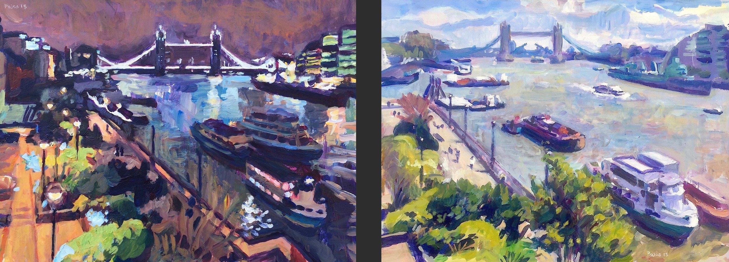 Tower Bridge, Night  & Tower Bridge, Day , acrylic on board