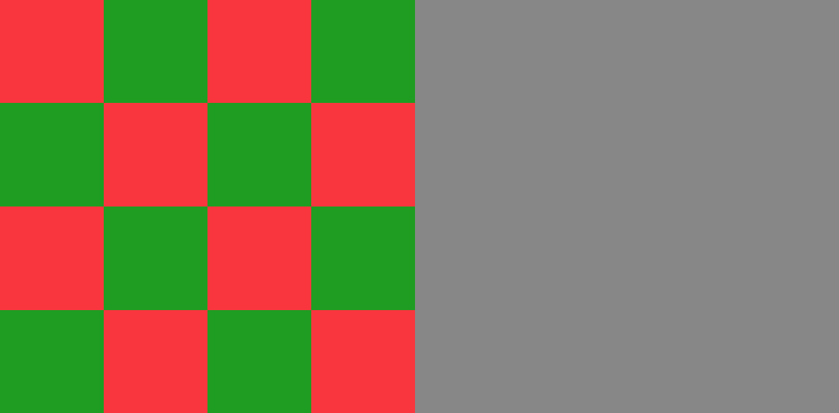 Figure 4:  These colourful squares of red and green are chromatically distinct but when the image is desaturated the squares disappear and are rendered almost as one shade of grey