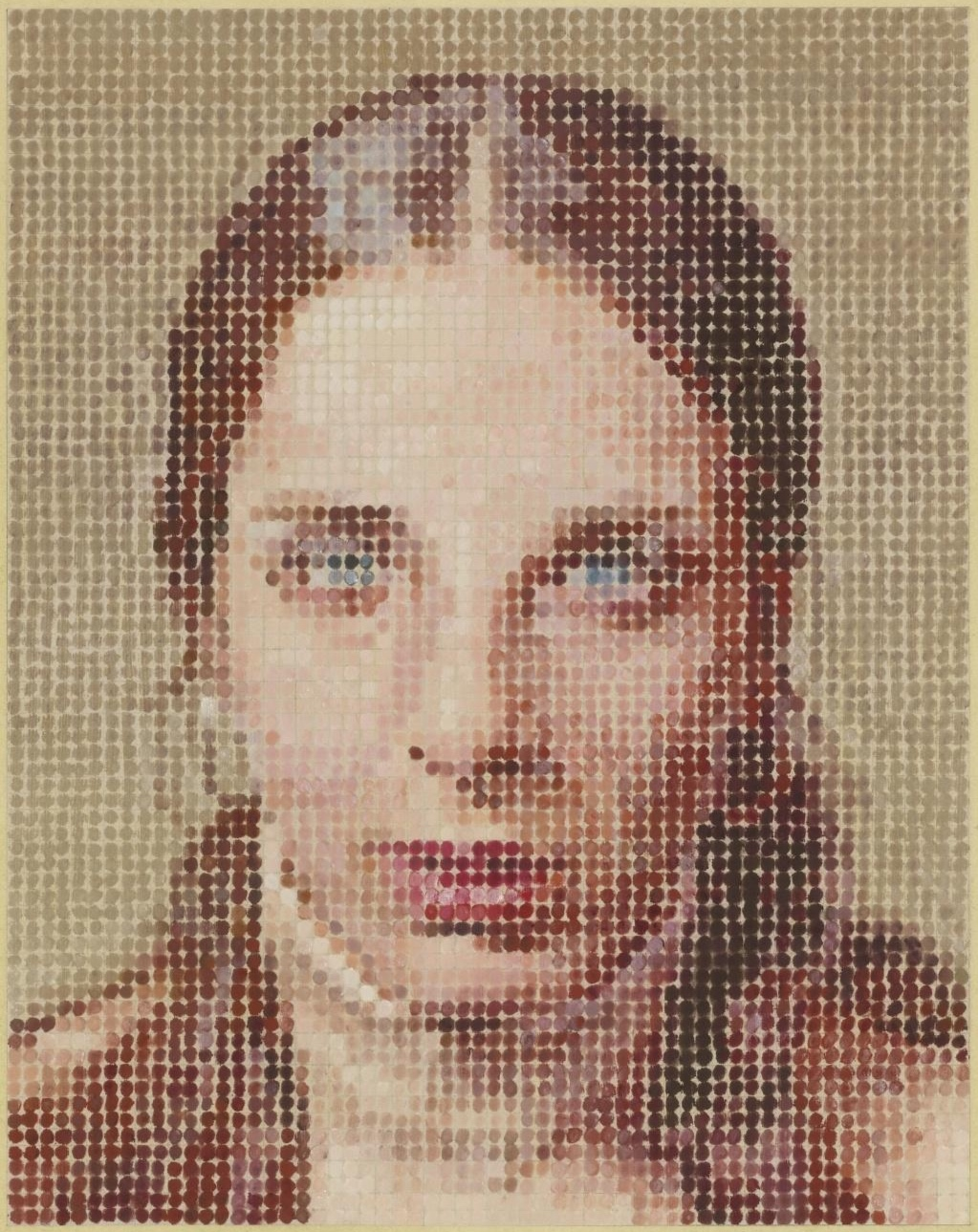 Chuck Close   Leslie  (detail), 1977 pastel on paper (image source:  Mutual Art )