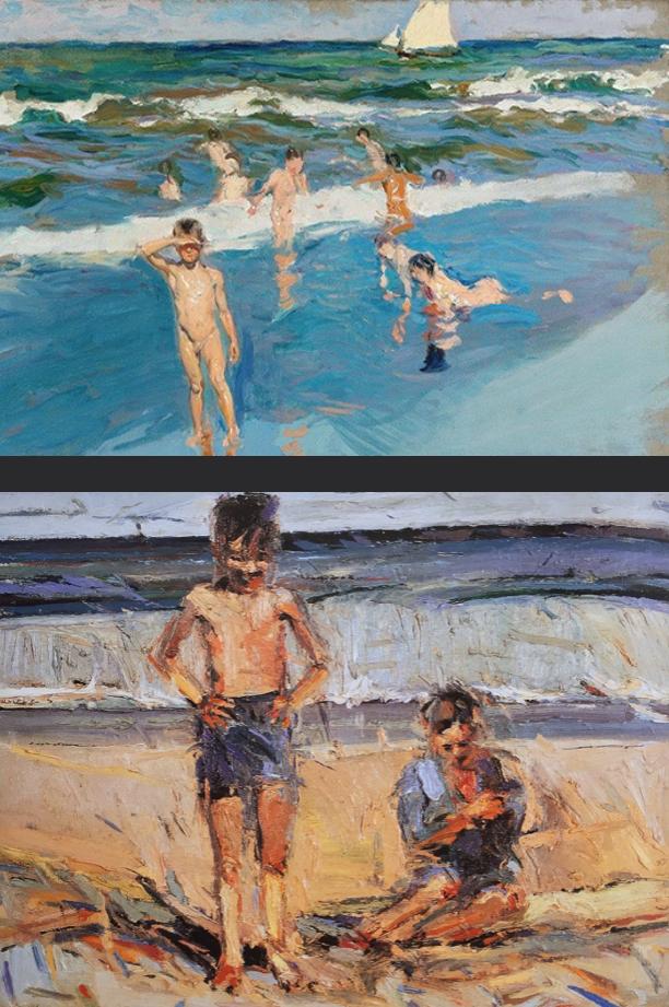 Top:  Joaquín Sorolla   Children in the Sea, Valencia Beach  1908 oil on canvas (Image source:  Sotheby's )  Bottom:  Wayne Thiebaud   Beach Boys  1960 oil on canvas (Image source:  Karen Tsujimoto  / University of Washington Press)