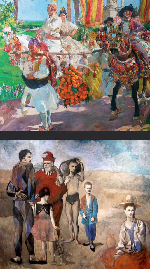 Top:  Joaquín Sorolla   Valencia, Las Grupas  1916 oil on canvas (Image source:  Wikimedia Commons )  Bottom:  Pablo Picasso   The Family of Saltibaques  1905 oil on canvas (Image source:  pablopicasso.org )