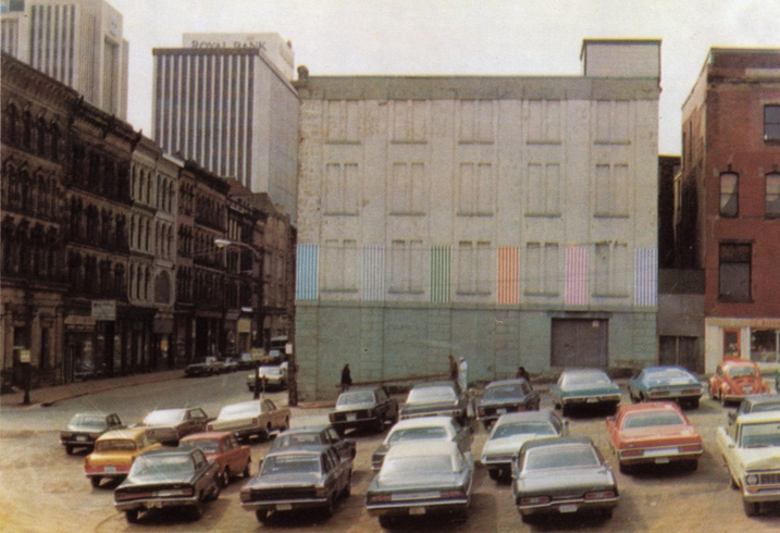 Daniel Buren:   Halifax, 7 days, 6 placements, 7 colors   1974 photographic postcard, Multiplicata Paris and Novia Scotia (image:  Camera Austria International )