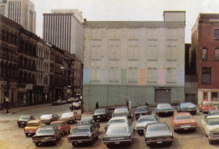 Daniel Buren:   Halifax, 7 days, 6 placements, 7 colors   1974 photographic postcard, Multiplicata Paris and Novia Scotia (image:  Camera Austria International )