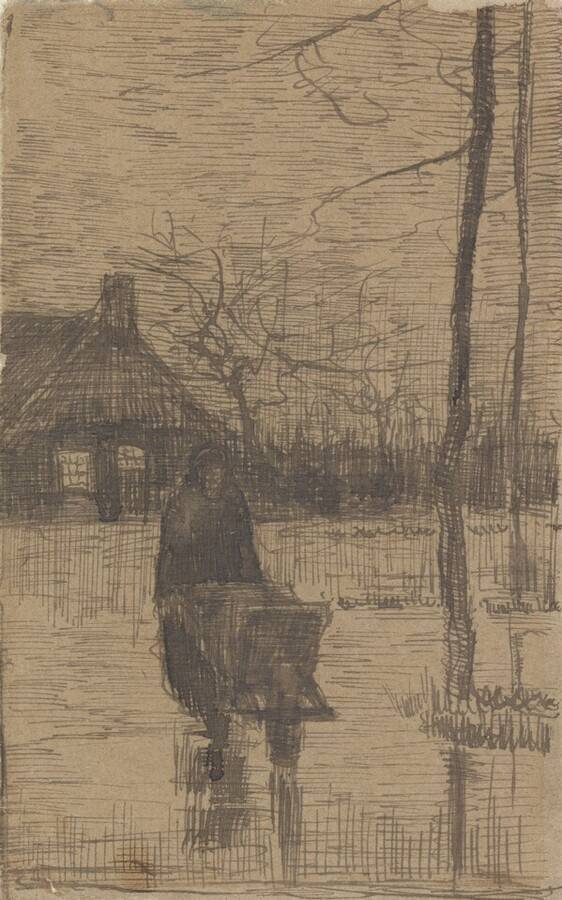 Vincent Van Gogh:  Woman with Wheelbarrow  1883  pen in black ink of woven paper (Image:  Kröller-Müller Museum )