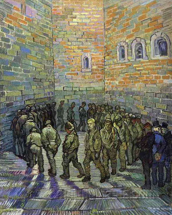Vincent Van Gogh:  Prison Courtyard  1889  oil on canvas (Image:  worldsofimagination )