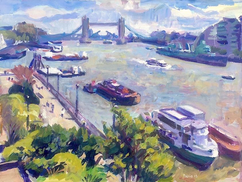 T owards Tower Bridge   2015 acrylic on board 30 x 40 cm.