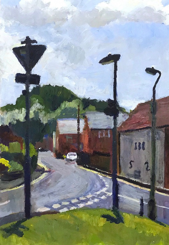 Wharf Hill, Winchester   2013 acrylic 11 x 7 inches