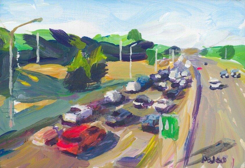 A406 at Colney Hatch   2019 acrylic on board 4 x 6 inches