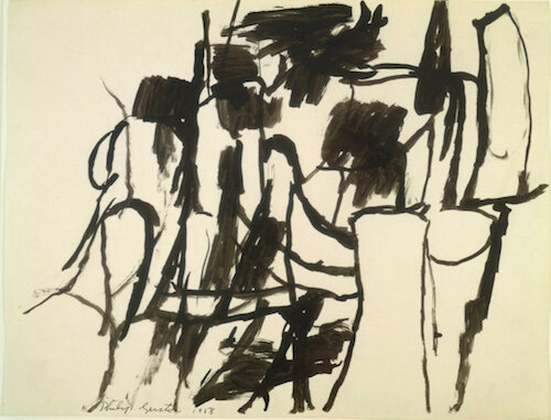 Philip Guston:   Untitled  1958 An example of his abstract expressionist 'pure' drawing (image source:  WikiArt )
