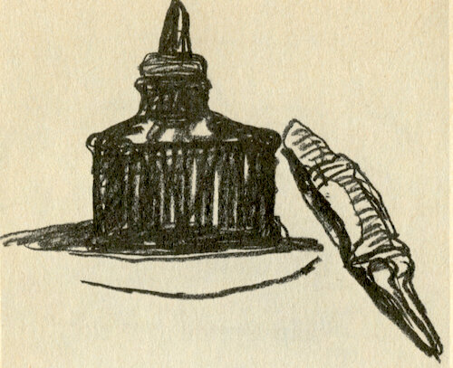 Philip Guston:   Ink Bottle and Quill  1968 charcoal on paper 12.5 x 15.5 inches (image source:  theparisreview.org )