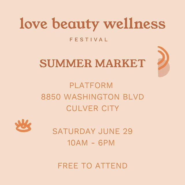 We'll be at the @lovebeautywellnessfestival Summer Market this Saturday from 10am - 6pm at @platform_la! The event is free to the public and will be featuring some AMAZING local artisans and beauty brands. See you there!
