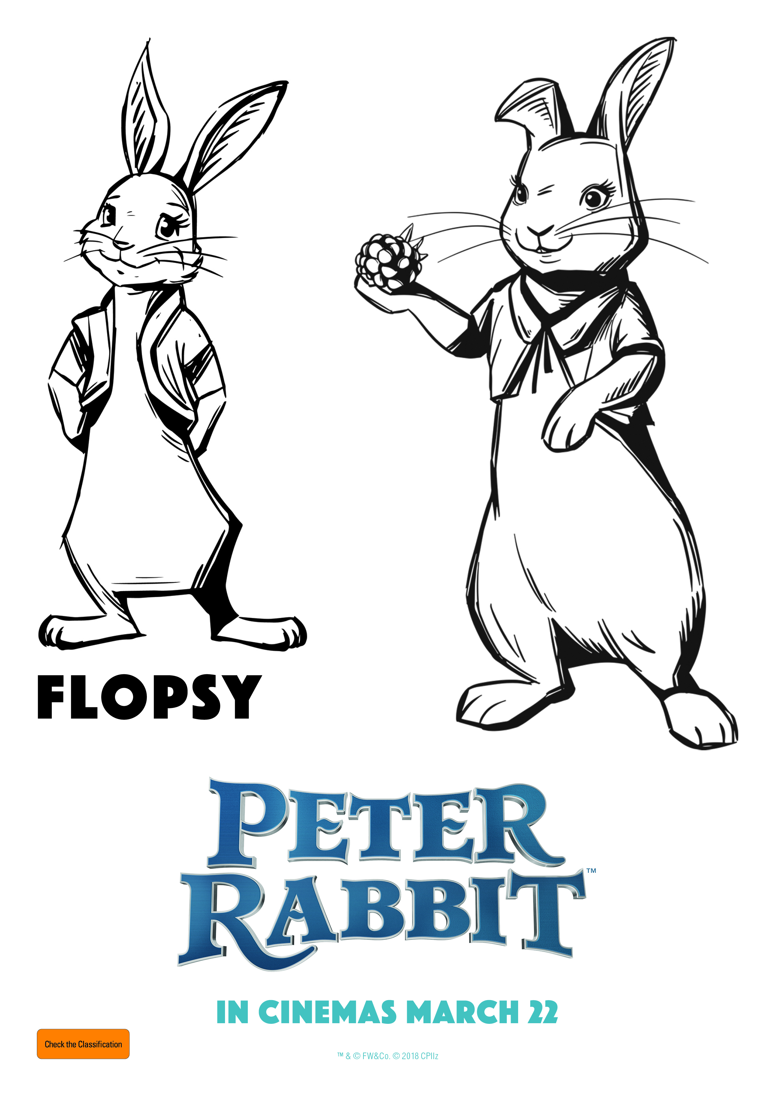 Copy of Flopsy - Peter Rabbit - Free Colouring In Sheet