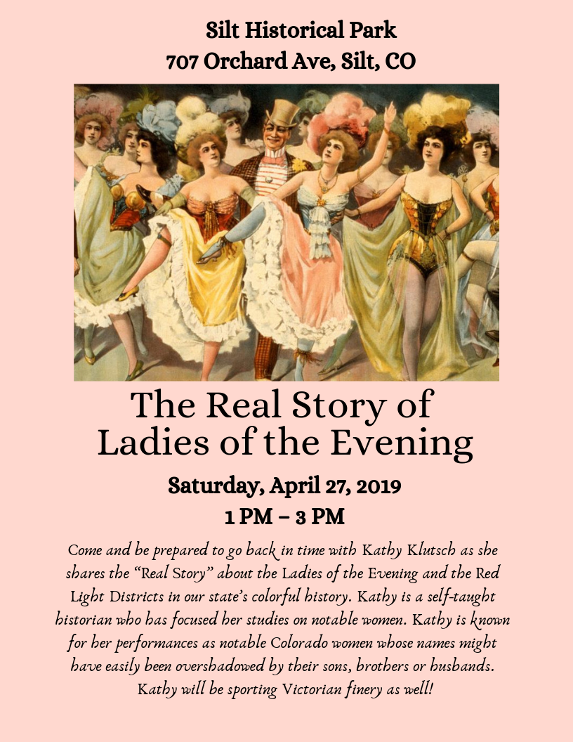 "Come and be prepared to go back in time with Kathy Klutsch as she shares the ""Real Story"" about the Ladies of the Evening and the Red Light Districts in our state's colorful history. Kathy is a self-taught histori.png"
