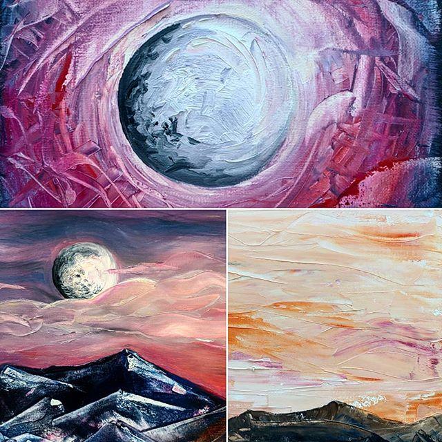"Texture shots of small landscapes. This series is ""Sandia Moonrise"". Paintings available at Earthfest ok April 20th💚 #oilpaintings #landscape #texture #paletteknife #sandias #sunrise #jnepaints #painting #painter"