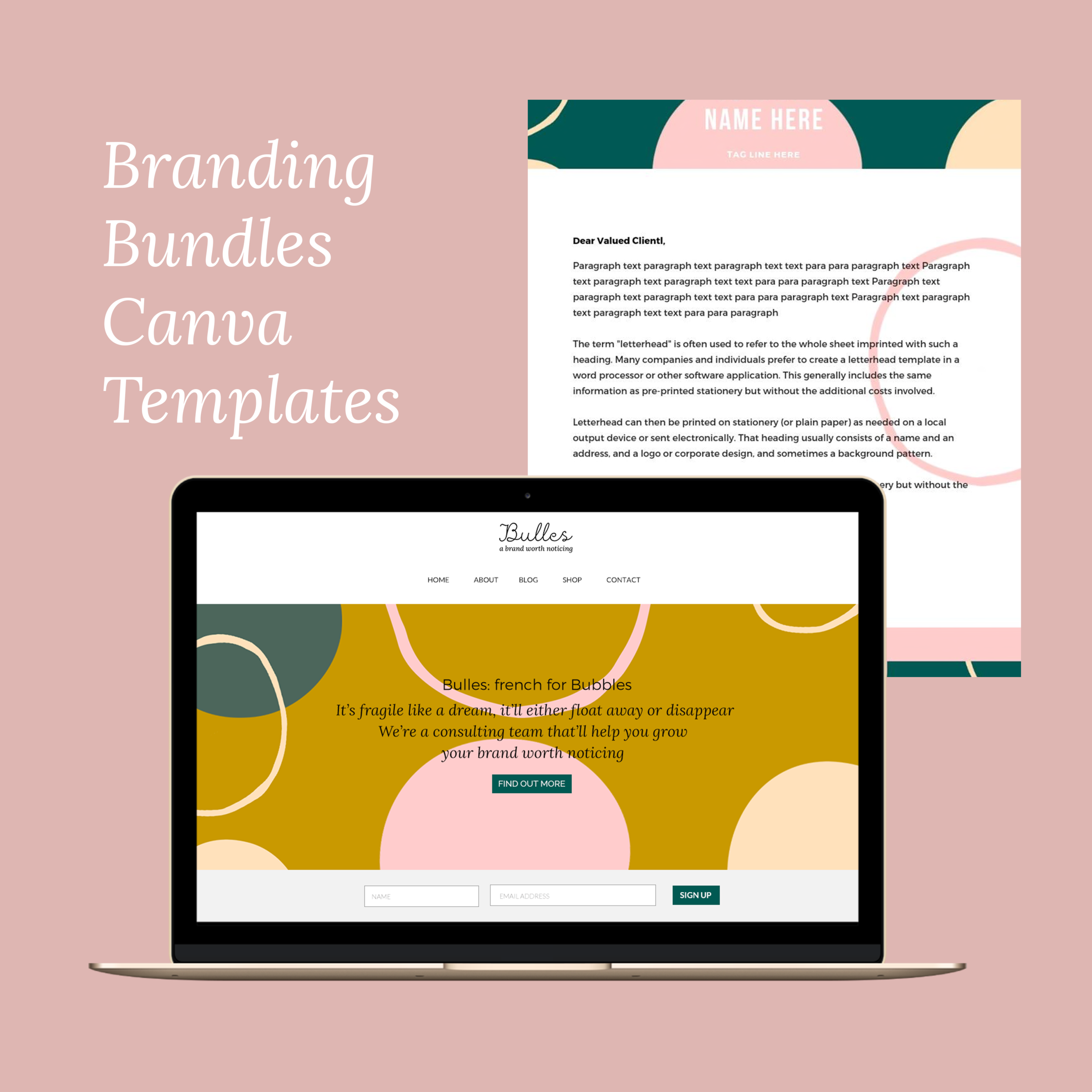 kellie and co bloom collective branding canva templates