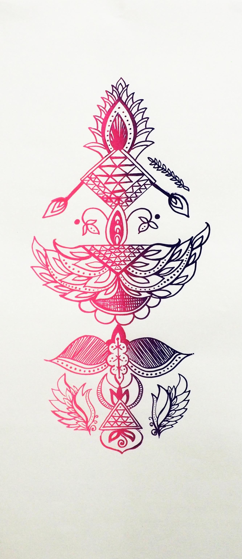 Lovers Batik  Screenprint on paper 25 x 12 in 2017