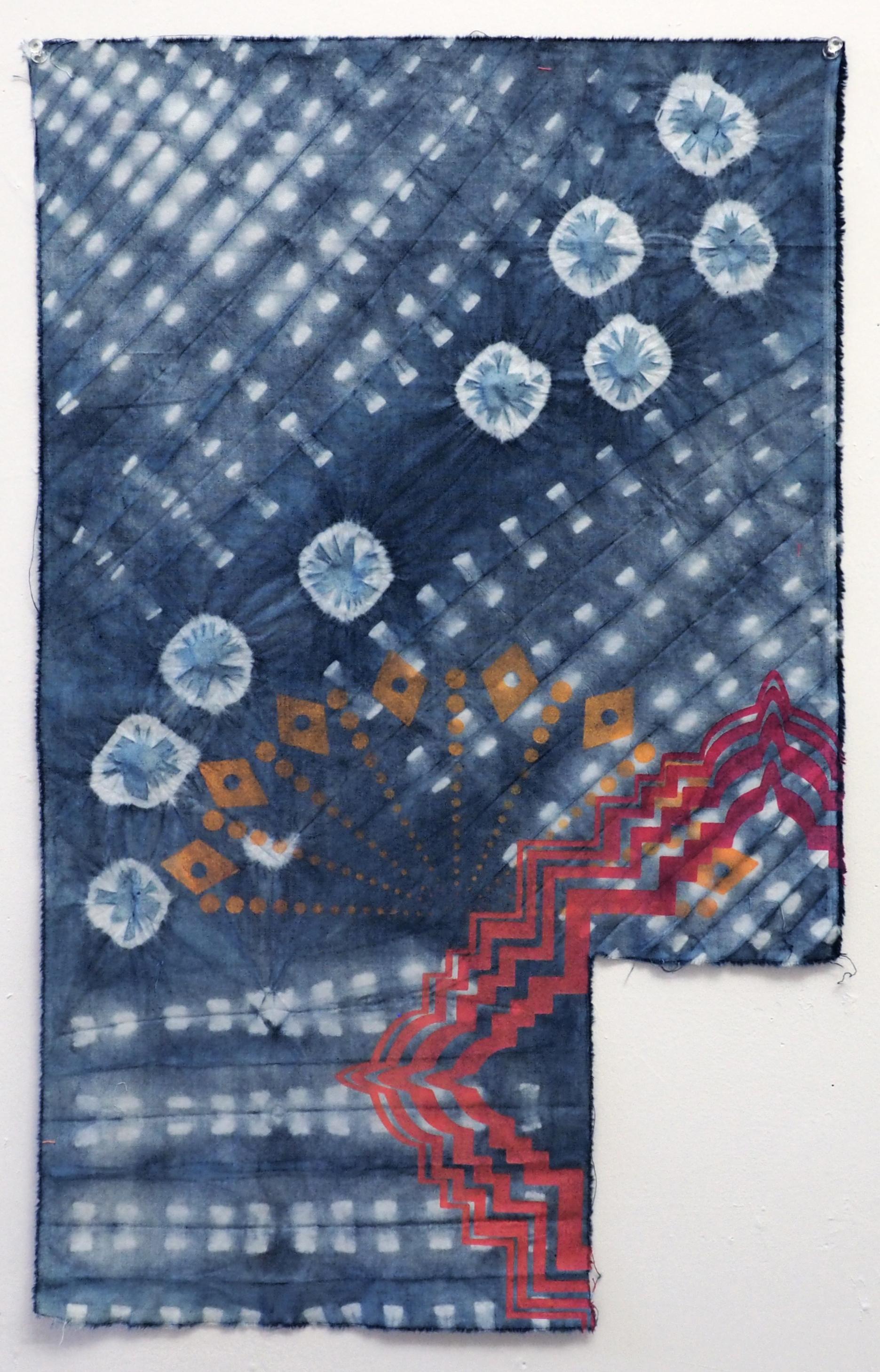 Radial Dimensions  Indigo shibori and screenprint on cotton 15.5 x 24.5 in 2017