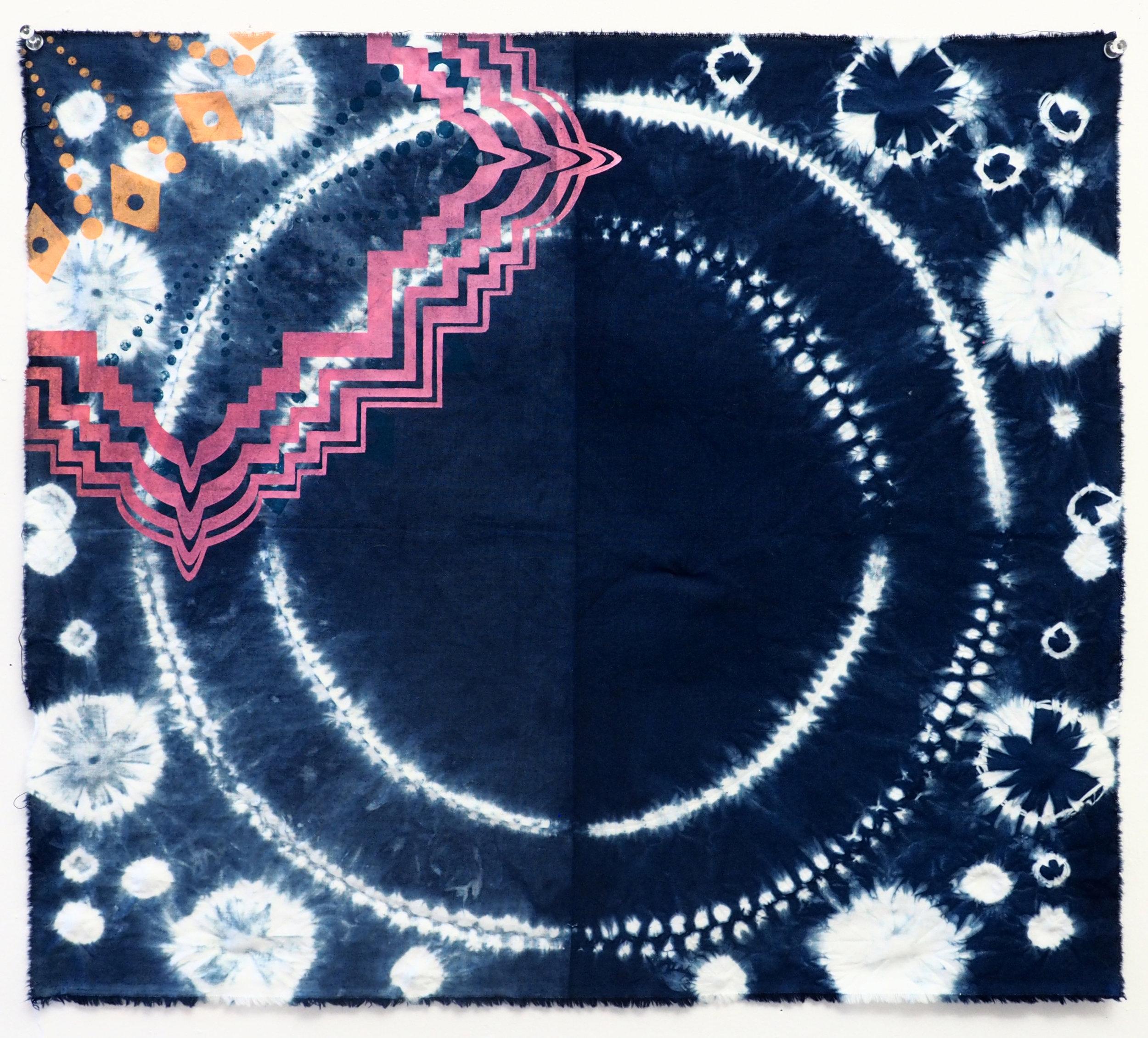 Indigo shibori and screenprint on cotton 21 x 19 in 2017