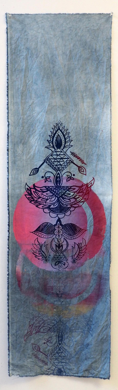 Arjuna Batik Moon  Indigo dye and screenprint on cotton 11.5 x 40 in 2017
