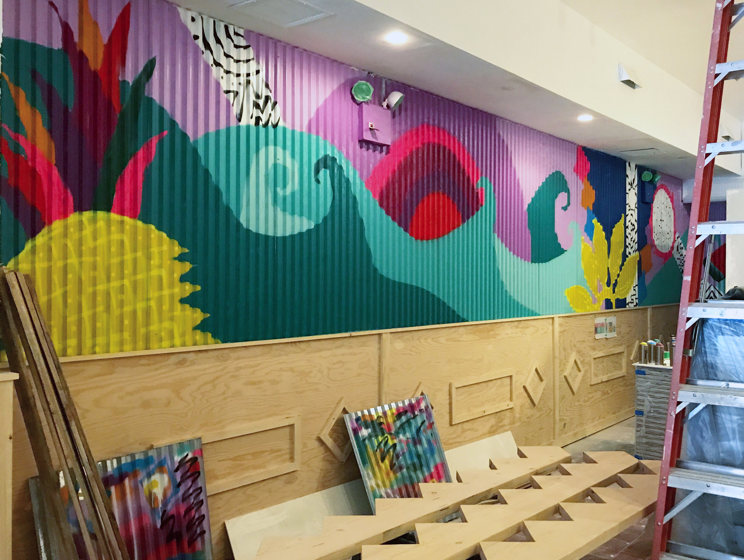 Custom Mural for Happy Bowls NYC Astor Place, New York City, 2017