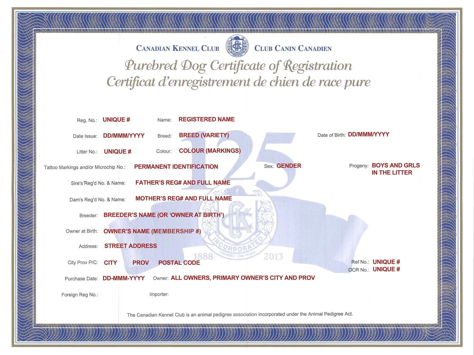 An example of the Canadian Kennel Club Purebred Registration Certificate