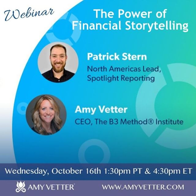 Register for a discussion with Patrick Stern, Senior Account Manager, North America, Spotlight Reporting of @spotlightrep and me on The Power of Financial Storytelling - October 16th, 1:30pm - 2:00pm (PT), 4:30pm - 5:00pm (ET)⠀ Register - https://buff.ly/33zURE9⠀ #businessbalancebliss #cherishedadvisor
