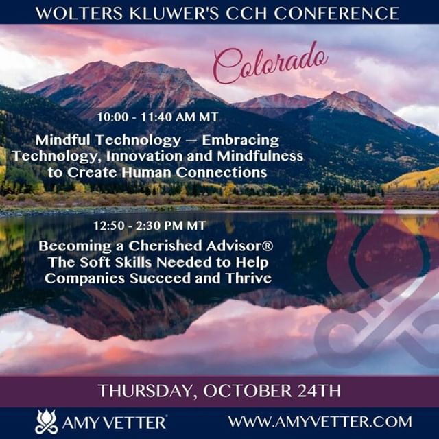 I am very excited to be presenting my keynotes: Mindful Technology — Embracing Technology, Innovation and Mindfulness to Create Human Connections and⠀ Becoming a Cherished Advisor® — The Soft Skills Needed to Help Companies Succeed and Thrive to Wolters Kluwer's CCH Conference in Aurora, CO on Thursday, October 24th. ⠀ Register Here: https://buff.ly/2mV9gL6⠀ #CCHUC19⠀ Subscribe to my Newsletter: https://buff.ly/2Hs59xp to learn about other upcoming events!⠀ #businessbalancebliss #cherishedadvisor