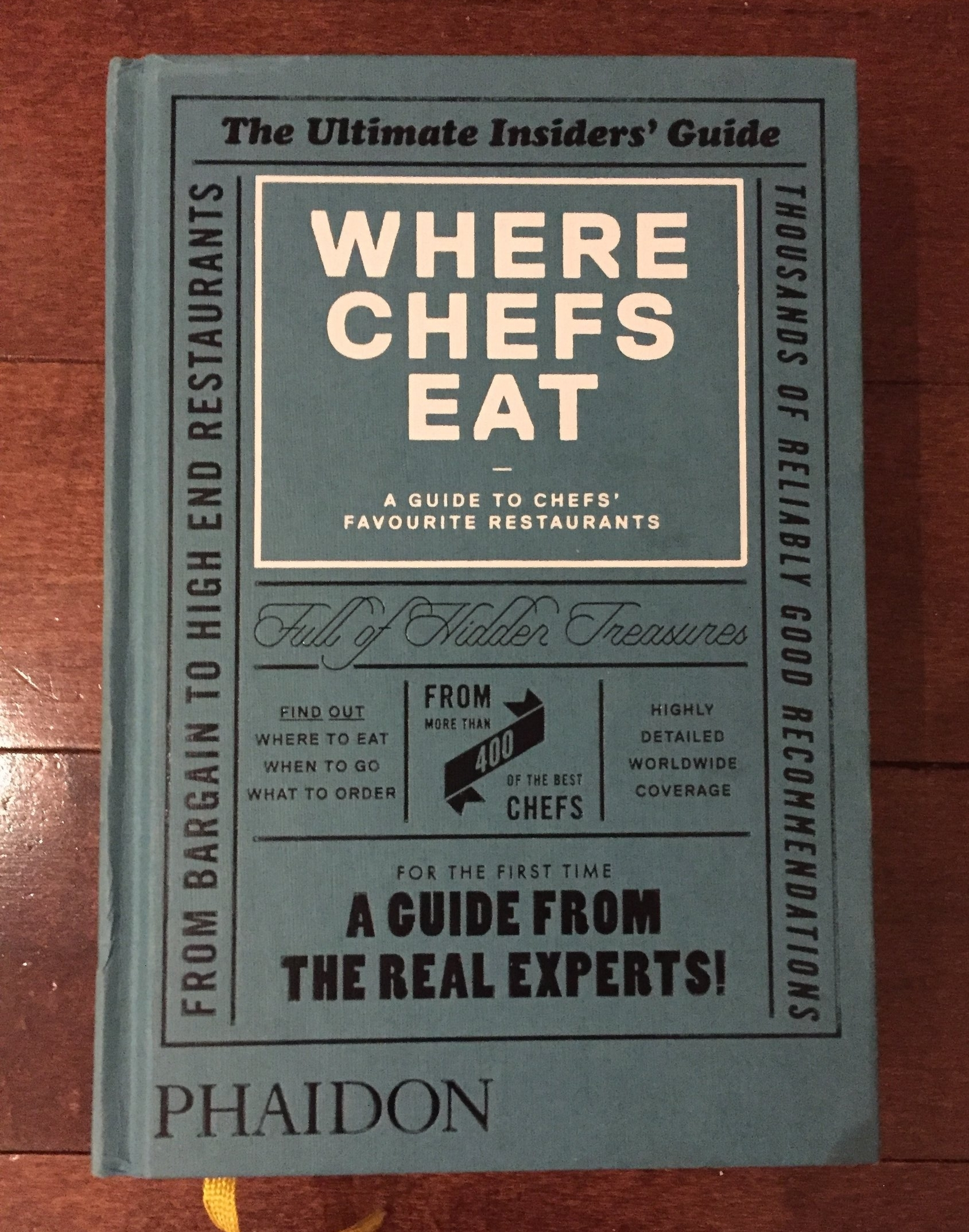 Where Chefs Eat. This book is a pretty extensive catalog of where to eat in North America. With a combination of fine dining and cheap local eats. This isn't technically a cookbook, but I have definitely used this a guide when I have travelled ( or been dreaming of travelling)