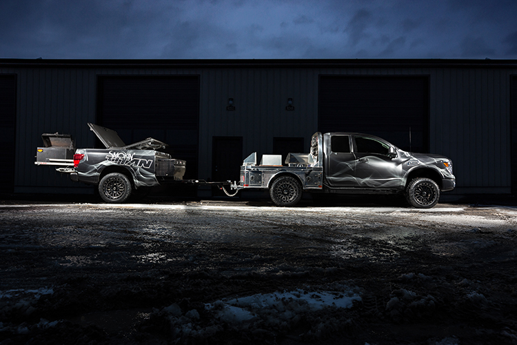 The ultimate tailgating and barbecuing pickup truck, Smokin' TITAN features a custom flatbed with built-in smoker and fully functional mobile kitchen, including the kitchen sink