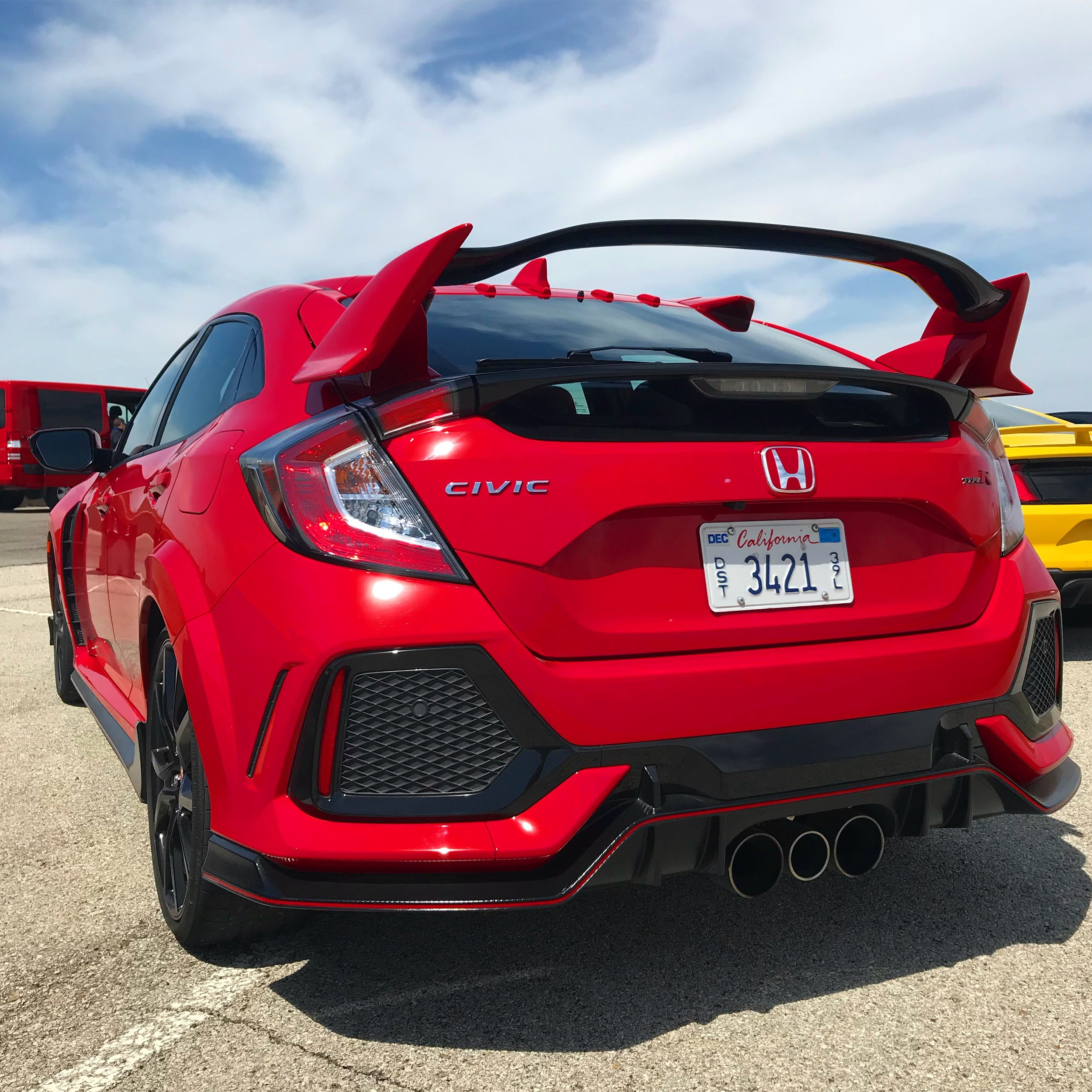 I was a little nervous to drive the Honda Civic Type R (which is available with manual transmission only), but after Honda representative Davis took us for a spin around the track, I felt emboldened to try it. It was astonishingly smooth and easy to drive, and exceedingly fun!